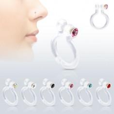 Fake piercing do nosu z Bioflexu, třpytivý zirkonek, různé barvy