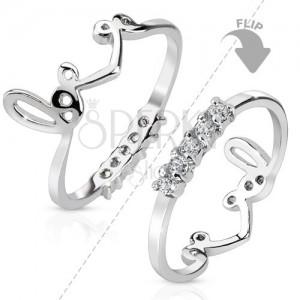 """Rhodiovaný prsten stříbrné barvy, oboustranný, linie čirých zirkonů, nápis """"love"""""""