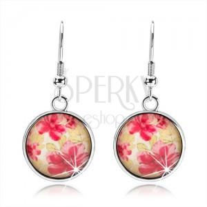 Kruhové náušnice ve stylu kabošon, vypouklé sklo, červené květy, zelené listy