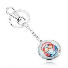 Přívěsek na klíče cabochon, kruh s čirou glazurou, modrá sova s čepicí SP73.02