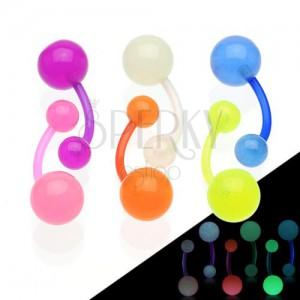 Piercing do pupíku svítící ve tmě, flexibilní materiál, dvě kuličky