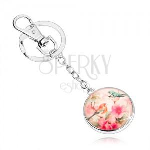 Klíčenka cabochon, kruh s glazurou, dva ptáčci na stromě s květy