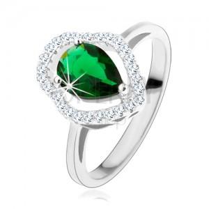 Stříbrný prsten 925, zelená zirkonová kapka, čirý blyštivý obrys