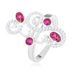 Prsten ze stříbra 925, třpytivé ornamenty, růžové zirkony, vysoký lesk HH3.7