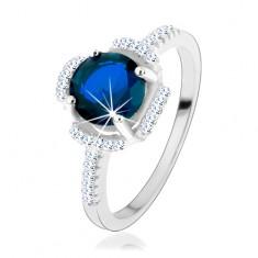 Zásnubní prsten, stříbro 925, modrý kvítek, lupínky z čirých zirkonků HH3.8