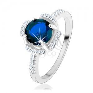 Zásnubní prsten, stříbro 925, modrý kvítek, lupínky z čirých zirkonků