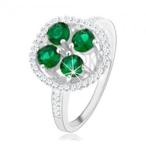 Zásnubní stříbrný prsten 925, kruhový blyštivý květ, zelené zirkony