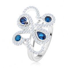 Stříbrný 925 prsten, třpytivé ornamenty, tmavomodré zirkony HH3.11