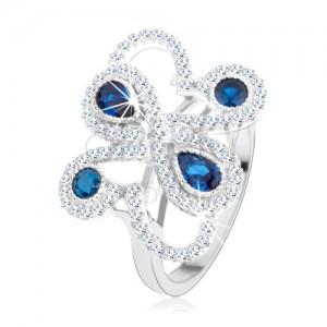 Stříbrný 925 prsten, třpytivé ornamenty, tmavomodré zirkony