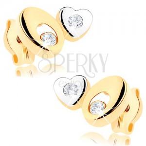 Dvoubarevné zlaté náušnice 375 - ovál s výřezem, malé srdíčko, čiré zirkonky