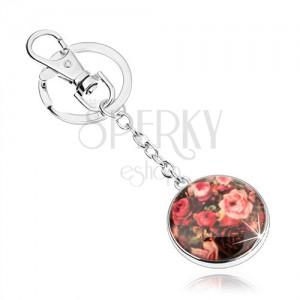 Přívěsek na klíče ve stylu kabošon, vypouklá glazura, různobarevné růže