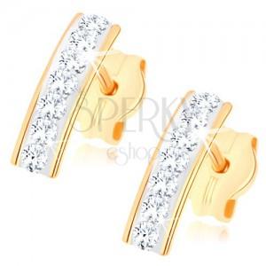 Puzetové náušnice ve žlutém 9K zlatě, třpytivý pásek ze Swarovského křišťálů