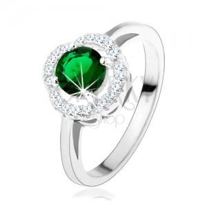 Zásnubní prsten, kulatý zelený zirkon, zvlněný lem čiré barvy, stříbro 925