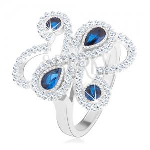 Prsten ze stříbra 925, blyštivé zvlněné linie, modré zirkony