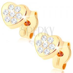 Zlaté náušnice 375 - malé blyštivé srdíčko, drobné čiré zirkonky