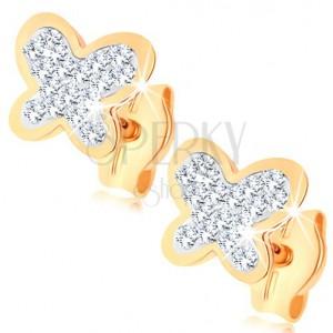 Náušnice ve žlutém 9K zlatě - třpytivý motýlek, čiré křišťály Swarovski