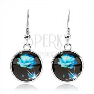 Náušnice ve stylu kabošon, kruh s glazurou, modrá rozkvetlá růže