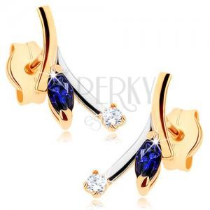 Zlaté náušnice 375 - modrý zrnkovitý safír, čirý zirkon, dvoubarevná větvička