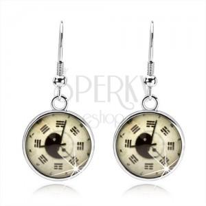 Kruhové náušnice, kabošon, hodinky, jin jang, trigramy, světle žlutý podklad