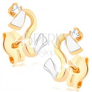 Náušnice ze zlata 375 - zvlněná dvoubarevná linie, zirkonek čiré barvy