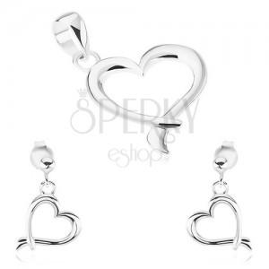Sada ze stříbra 925 - náušnice, přívěsek, obrys srdce s překříženými liniemi