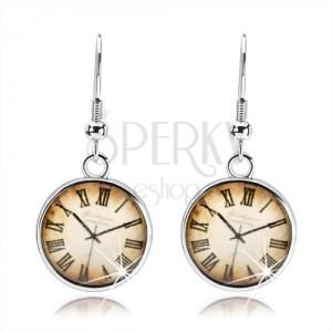 Náušnice ve stylu kabošon, vypouklá čirá glazura, hodinky s římskými číslicemi