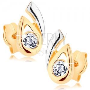 Náušnice z 9K zlata - rozdvojená dvoubarevná kapka, čirý zirkon