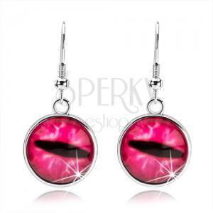 Kruhové cabochon náušnice, čiré vypouklé sklo, růžové kočičí oko