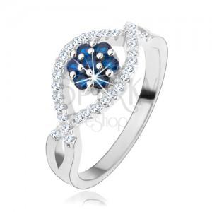 Prsten ze stříbra 925, zvlněné zirkonové linie, blyštivý květ z modrých zirkonů