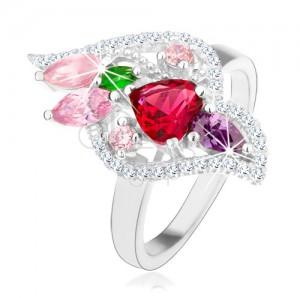 Stříbrný 925 prsten, třpytivé zirkony různých barev, čirý lem