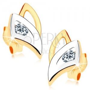Puzetové náušnice v 9K zlatě - dvoubarevné obrysy trojúhelníků, čirý zirkonek