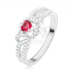 Stříbrný prsten 925, zatočené zirkonové linie, červený srdcovitý zirkon