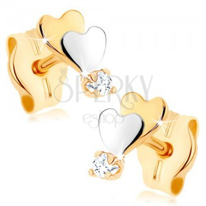 Zlaté náušnice 375 - malá plochá srdíčka, zrcadlový lesk, čirý zirkon