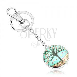 Kabošon klíčenka, kruh s vypouklým sklem, strom, pestrobarevné květy
