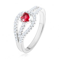 Stříbrný prsten 925, rozdvojená zirkonová ramena, červené srdíčko HH4.11