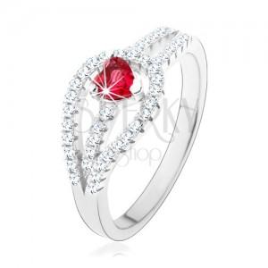 Stříbrný prsten 925, rozdvojená zirkonová ramena, červené srdíčko