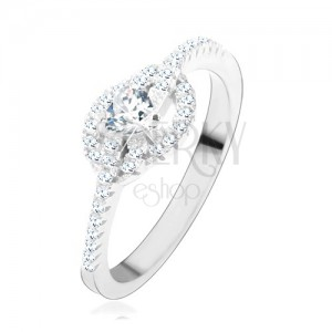 Zásnubní prsten ze stříbra 925, čiré zirkonové srdce, zatočené linie