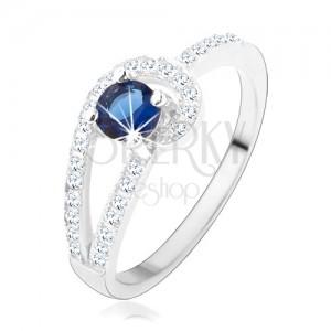 Stříbrný prsten 925, třpytivé linie čiré barvy, kulatý modrý zirkon