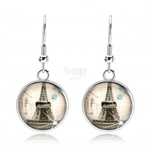 Náušnice s čirým vypouklým sklem, Eiffelova věž, béžový podklad