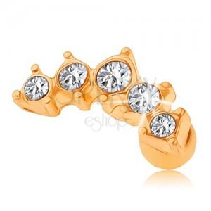 Ocelový piercing do tragu, zlatá barva, oblouček zdobený čirými zirkony