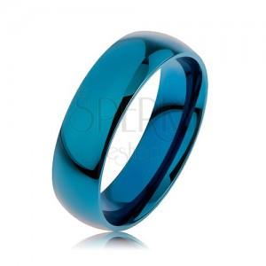 Prsten z chirurgické oceli v modré barvě, povrch anodizovaný titanem, 6 mm