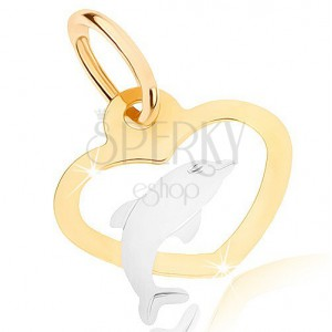 Dvoubarevný přívěsek v 9K zlatě - obrys souměrného srdce, delfínek