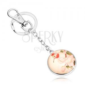 Přívěsek na klíče ve stylu cabochon, kruh s čirým vypouklým sklem, ptáček, květy