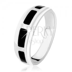 Prsten ze stříbra 925, obdélníky z černého onyxu, vysoký lesk