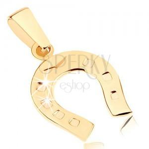 Zlatý přívěsek 375 - blyštivá podkovička pro štěstí, gravírované tečky