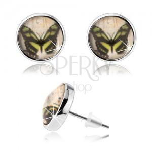 Cabochon náušnice, čirá glazura, obrázek motýla, puzetky