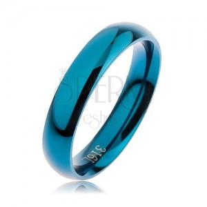 Prsten z oceli 316L modré barvy, hladký zaoblený povrch bez vzoru, 4 mm