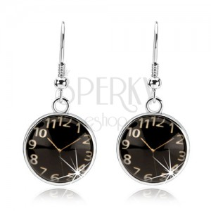 Náušnice cabochon, vypouklé sklo, hodinky - černý podklad, afro háčky