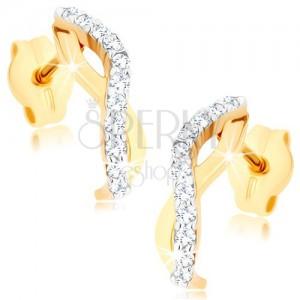 Zlaté náušnice 375 - dvě zvlněné linie tvořící oblouček, čiré zirkony