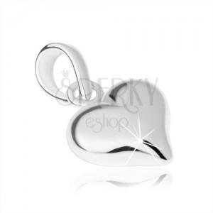 Stříbrný 925 přívěsek, symetrické srdíčko, hladký lesklý povrch
